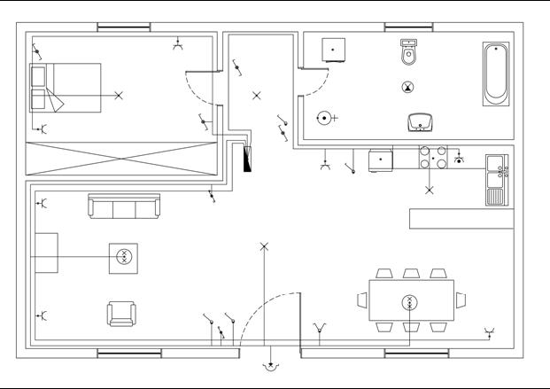 Σχήμα 6.56: Κοινές γραμμές ρευματοδοτών – φωτιστικών σημείων κουζίνας - κρεβατοκάμαρας