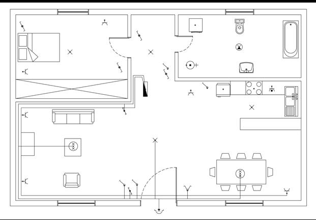 Σχήμα 6.55: Γραμμή ρευματοδοτών καθιστικού - τραπεζαρίας.