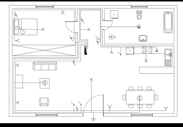 Σχήμα 6.57: Κοινή γραμμή φωτισμού λουτρού – διαδρόμου.