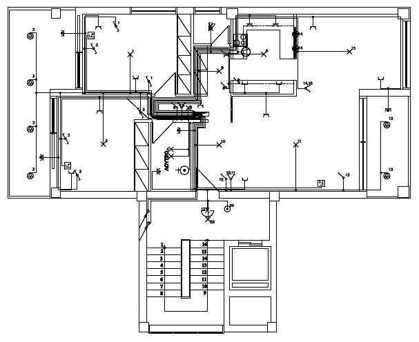 Σχήμα 6.66: Σχέδιο ηλεκτρολογικής εγκατάστασης τυπικού ορόφου