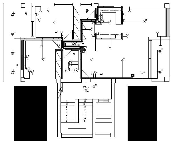 Σχήμα 6.67: Σχέδιο ηλεκτρολογικής εγκατάστασης ξενώνα