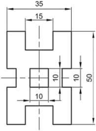 Σχήμα 4.27: Διακοπή αξονικών γραμμών κατά την καταχώρηση διαστάσεων.