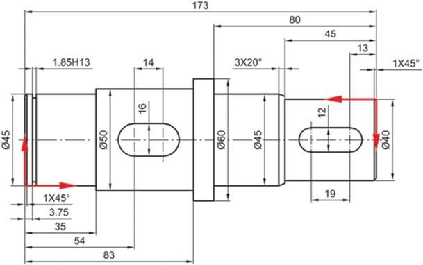 Σχήμα 4.33: Τοποθέτηση διαστάσεων βάσει δύο συστημάτων αναφοράς.