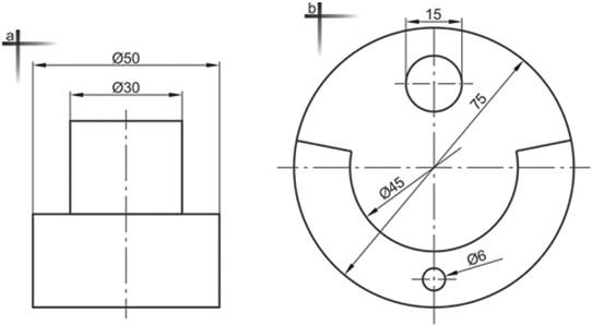 Σχήμα 4.38: Παραδείγματα καταχώρησης διαστάσεων διαμέτρων.