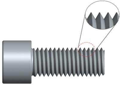 Σχήμα 4.43: Κοχλίας με κυλινδρική κεφαλή Allen με λεπτομέρεια του σπειρώματος.