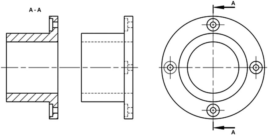 Σχήμα 4.19: Δεξιά πλάγια όψη και τομή μιας φλάντζας.